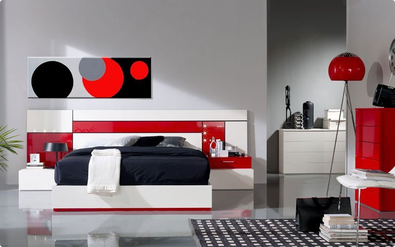 cuadro de estilo retro rojo y negro. Black Bedroom Furniture Sets. Home Design Ideas